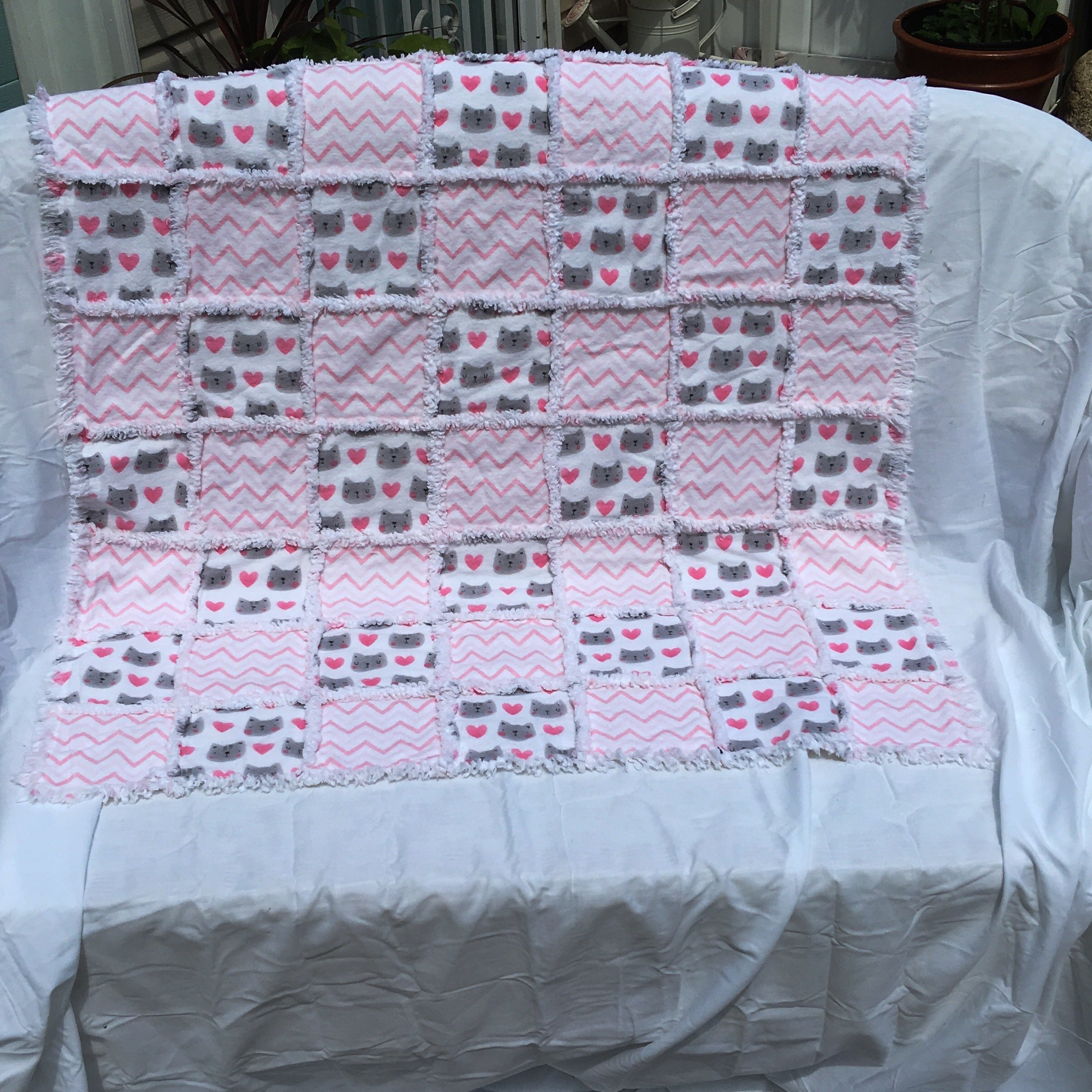 Pink and grey cats flannel baby rag quilt