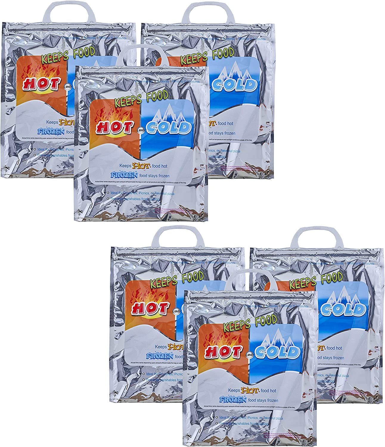 Superio Hot and Cold Reusable Insulated Bag Food Storage for Frozen Items & Hot Items Including Lunch Bags & Grocery Shopping Bags Reinforced Heavy Duty Refrigerated Totes (6, 12