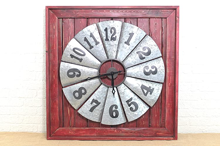 Barn Red Large Framed Galvanized Tin Windmill Wall Clock