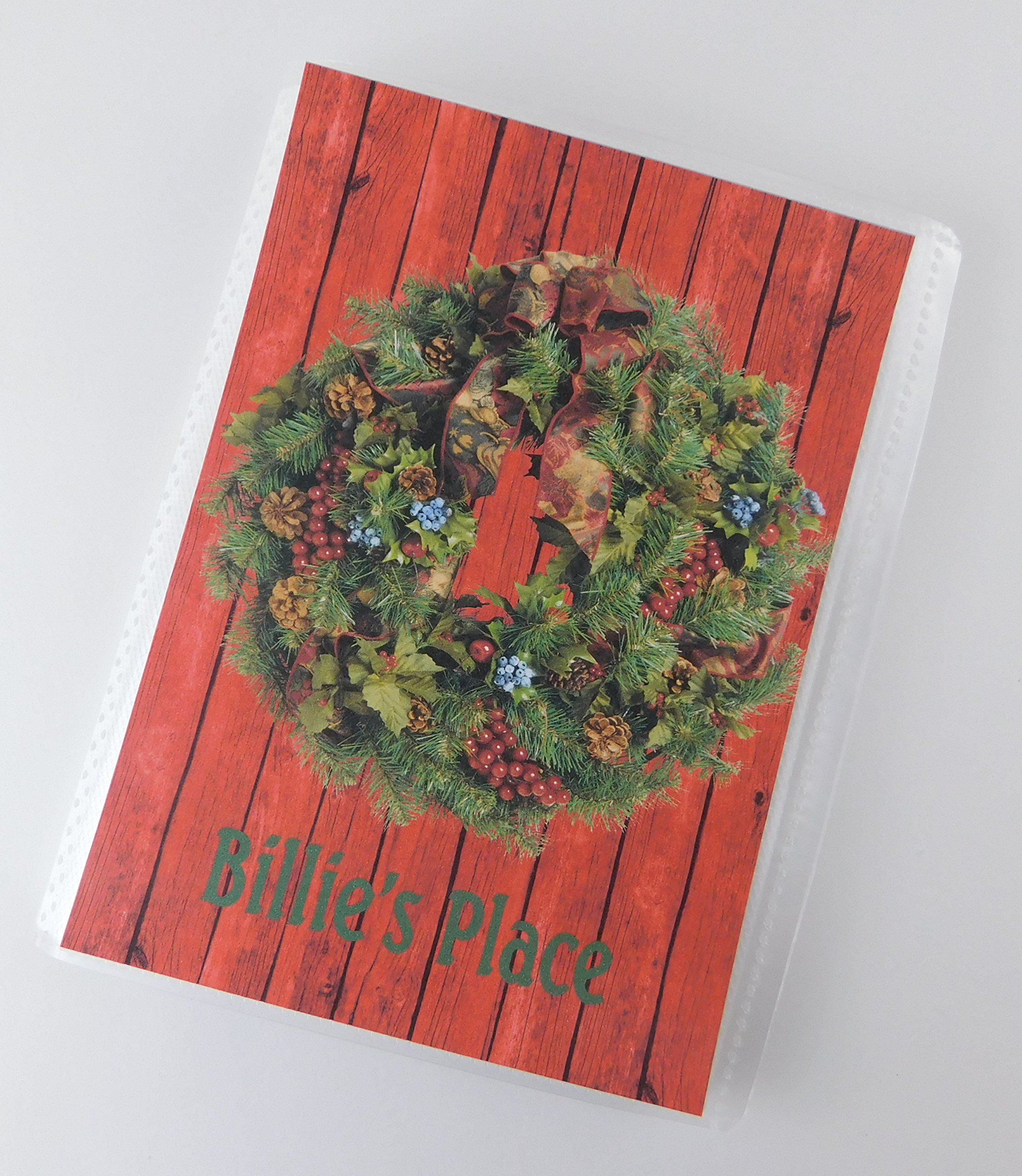 Photo Album IA#706 4x6 or 5x7 Picture Christmas Wreath Country Red Wood Bard