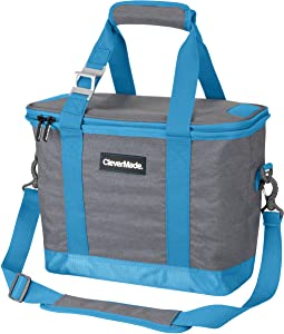 CleverMade Collapsible Cooler Bag with Shoulder Strap: Insulated Leakproof 30 Can Portable Soft Beverage Tote with Bottle Opener for Camping, Lunch, Beach, Picnic; Grey/Blue