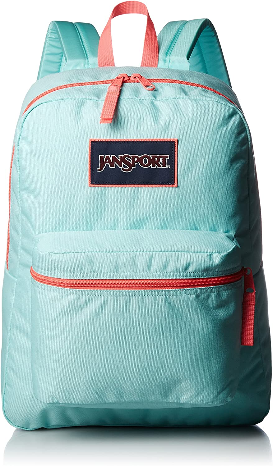 JanSport Overexposed Backpack AQUA DASH FLUORESCENT RED