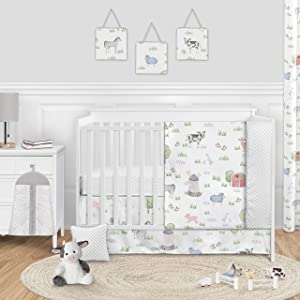 Sweet Jojo Designs Farm Animals Baby Boy or Girl Nursery Crib Bedding Set - 11 Pieces - Watercolor Farmhouse Lattice Horse Cow Sheep Pig
