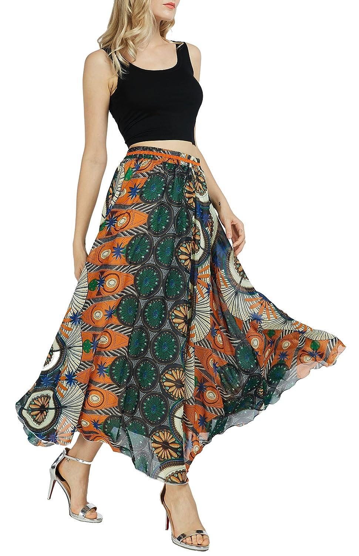 Afibi Women Floral Print Pleated Vintage Chiffon Long Maxi Skirt