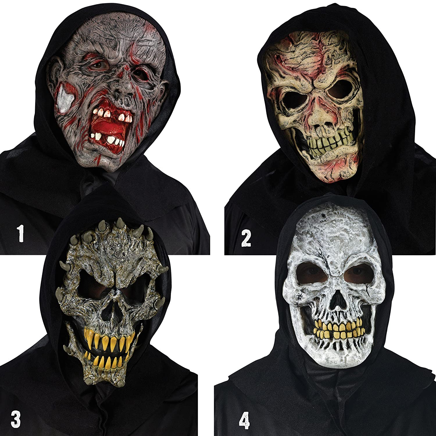 Fearsome Faces Hooded Bloody Creature Mask OSFM NWT