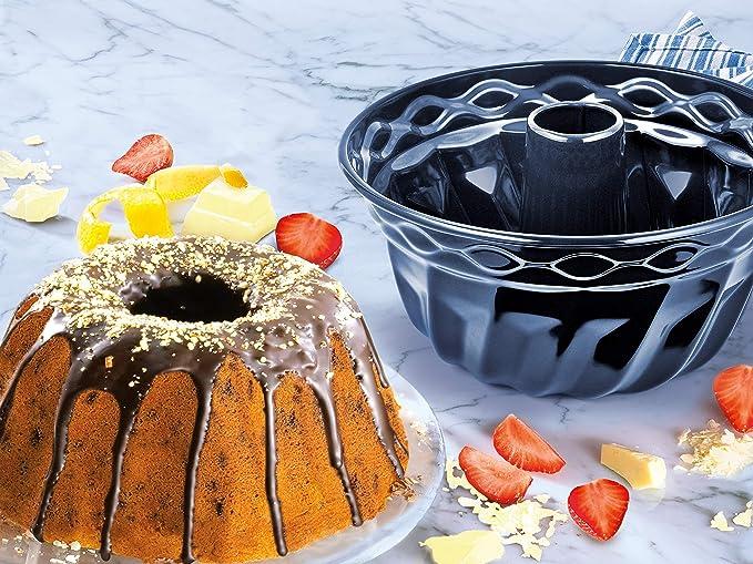 Dr. Oetker Molde bundt Cake Redondo para bizcochos, flanes y Tartas, Base esmaltada y Antiadherente, 22cm, 1ud. Back-Liebe, Acero, Azul Oscuro