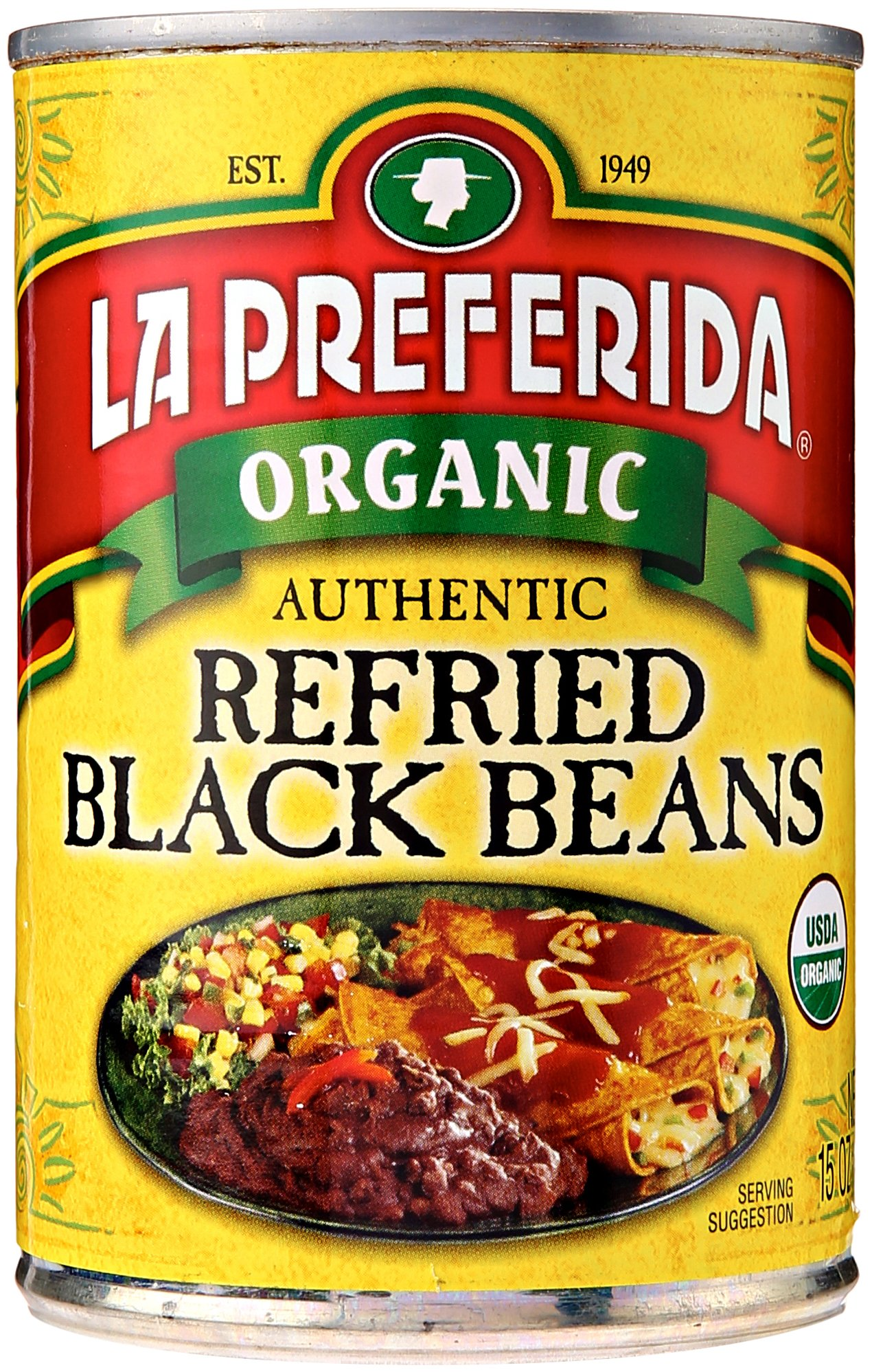 La Preferida Bean Refried Black Organic, 15 oz