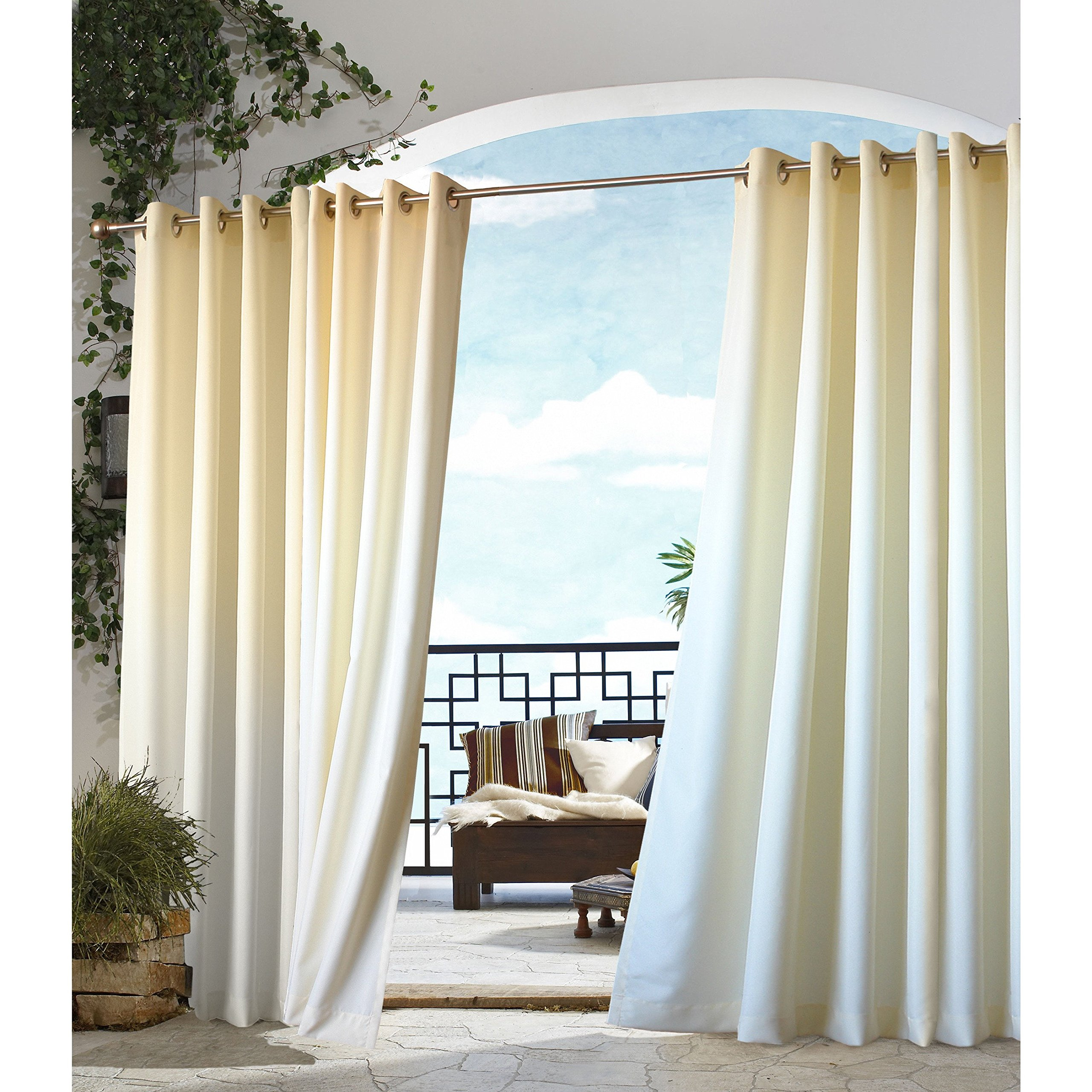 1 Piece 96 Inch Outdoor Natural Gazebo Curtain, Light Yellow Color Outside Window Treatment Single, Indoor Patio Porch Deck Entrance Door Grommet Ring Top Doorway Pergola Drapes, Cabana Polyester