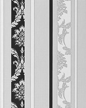 Papier Peint Neo Baroque Edem 053 20 Design Ornement Raye Flockage