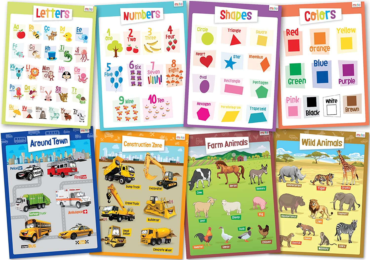 cheap 8 Educational Posters for Toddlers - Includes: Alphabet ...