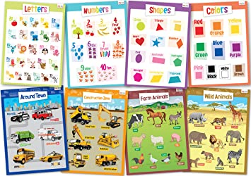 Amazon.com : 8 Educational Posters for Toddlers - Includes ...