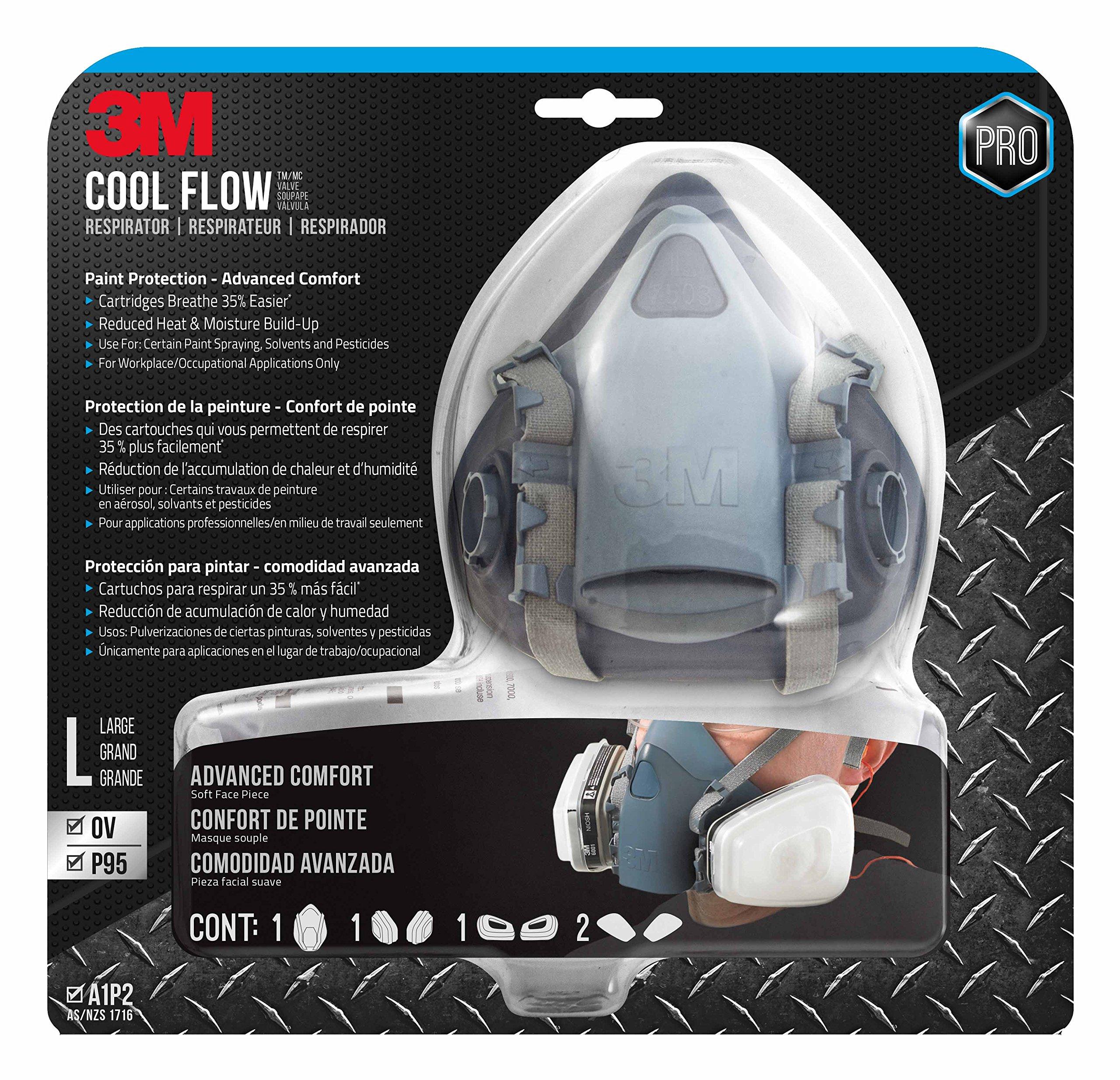 3M 7513PA1-A-PS Professional Half Mask Organic Vapor, P95 Respirator, Large by 3M Safety