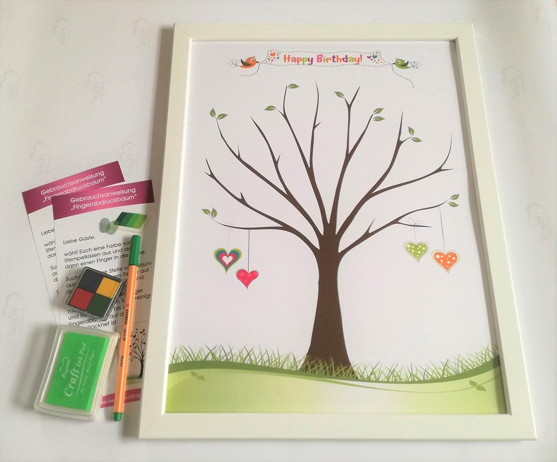 Geburtstag Gästebuch Poster inkl. Rahmen und Stempel Erinnerungsbild Fingerabdruckbaum (Geburtstag) Herzl-Manufaktur
