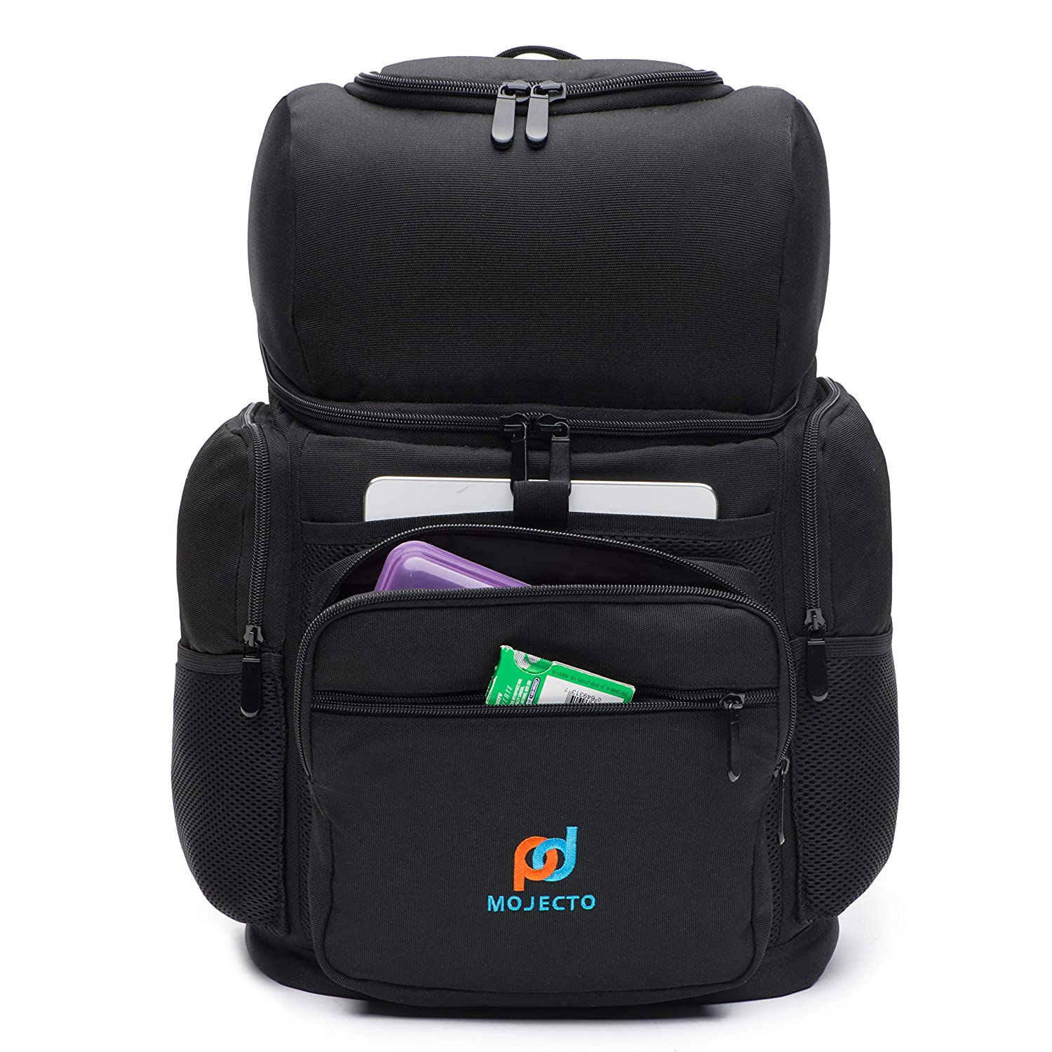 MOJECTO Backpack Cooler – Two Insulated Compartment. Heavy Duty 1000D Fabric, High Density Foam Insulation, Heat Sealed Thick Peva Liner, Multiple Large Pockets, Strong Zippers, Padded Straps.
