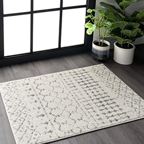 Nuloom Moroccan Blythe Accent Rug 2 X 3 Grey Off White Furniture Decor