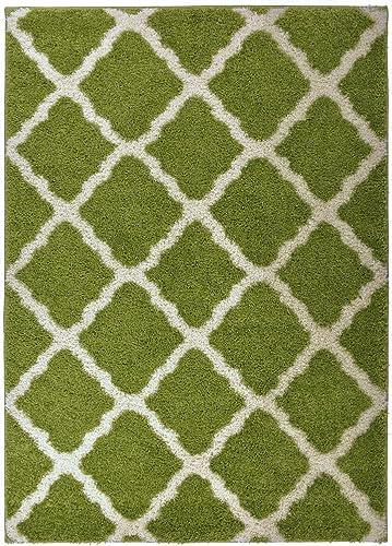RugStylesOnline Soho Shaggy Collection Trellis Lattice Design Shag Area Rug Rugs 3 Color Options, Green