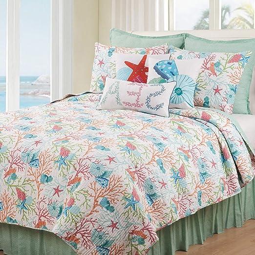 3 Pcs Coastal Beach Coral Starfish Seashells Tropical Ocean Aqua Quilt Set