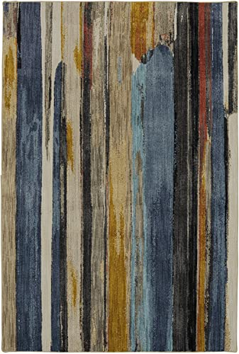 Mohawk Muse Eureka Multicolor Striped Woven Area Rug, 8 x11 , Blue