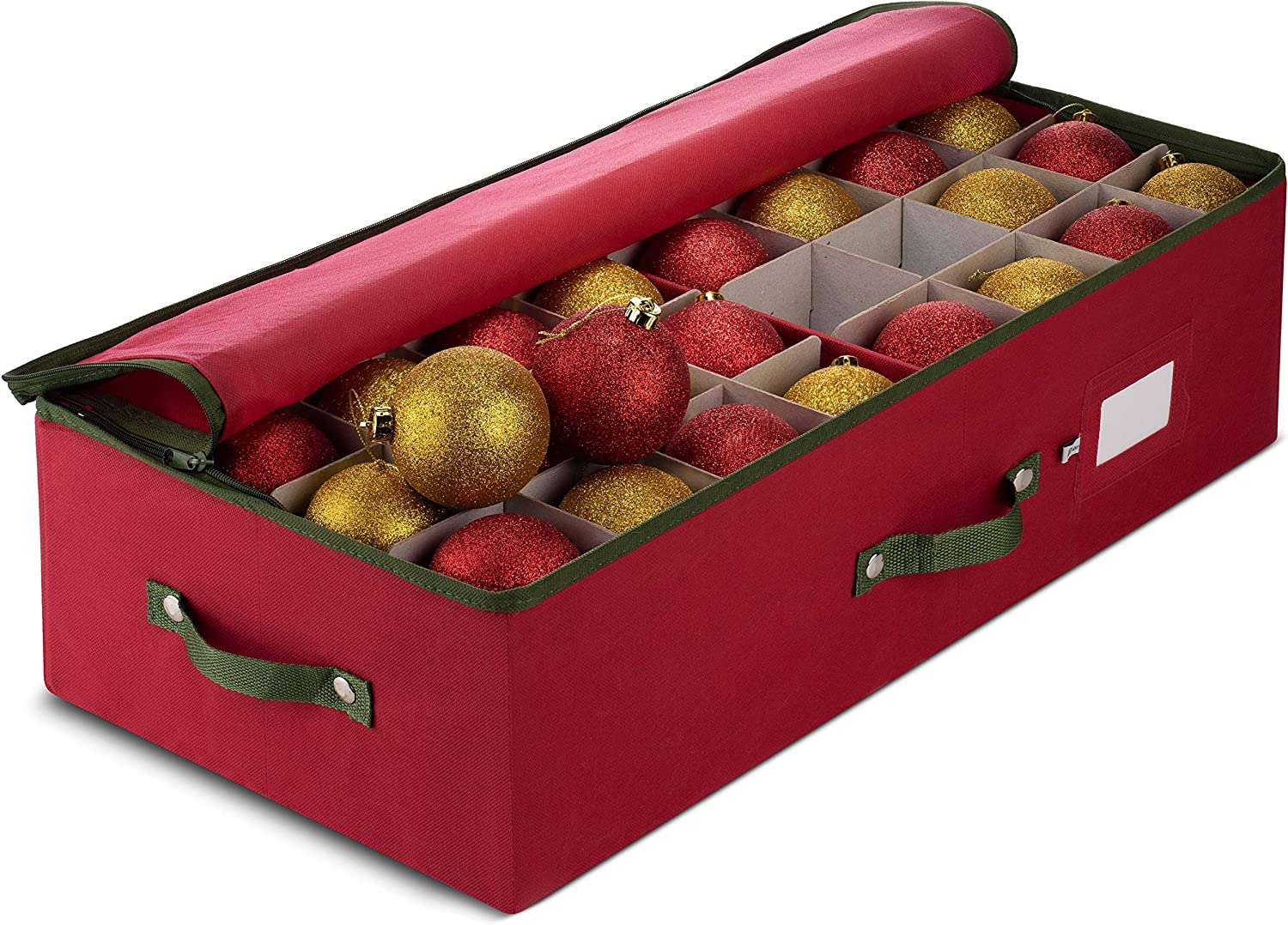ZOBER Underbed Christmas Ornament Storage Box Zippered Closure - Stores up to 64 of The 3-inch Standard Christmas Ornaments, and Xmas Holiday Accessories Storage Container with Dividers & Two Handle