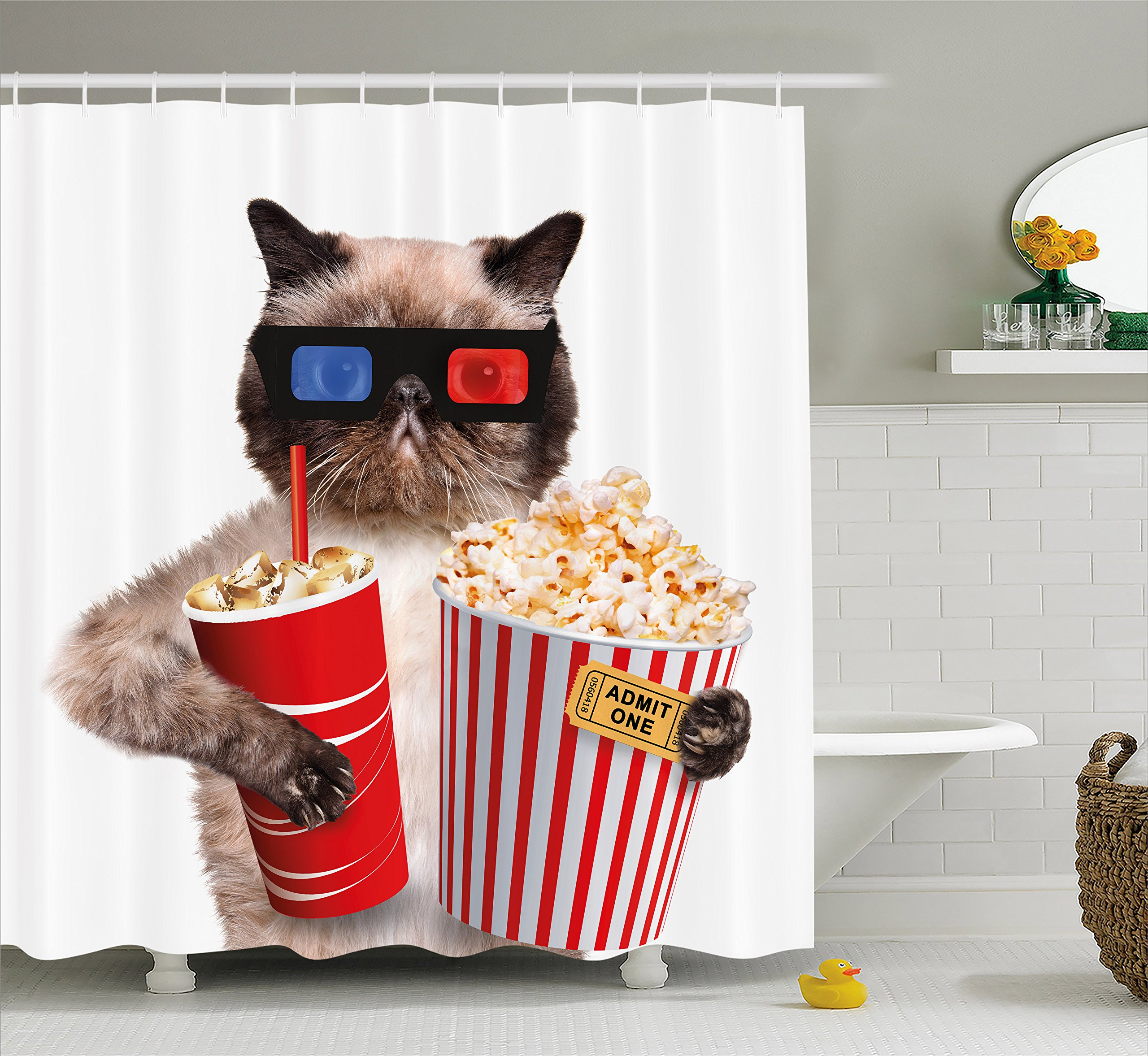 Ambesonne Movie Theater Decor Shower Curtain, Cat with Popcorn and Drink Watching Movie Glasses Entertainment Cinema, Fabric Bathroom Decor Set with Hooks, 70 Inches, Multicolor