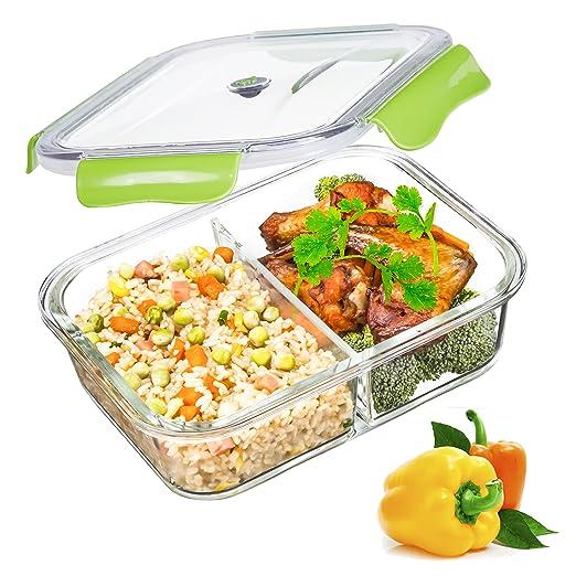 SELEWARE Vidrio Contenedor Alimentos Hermetico - Recipientes Comida Cristal Microondas - Fiambreras Bento con 2-Compartimentos - tapers para Comida ...