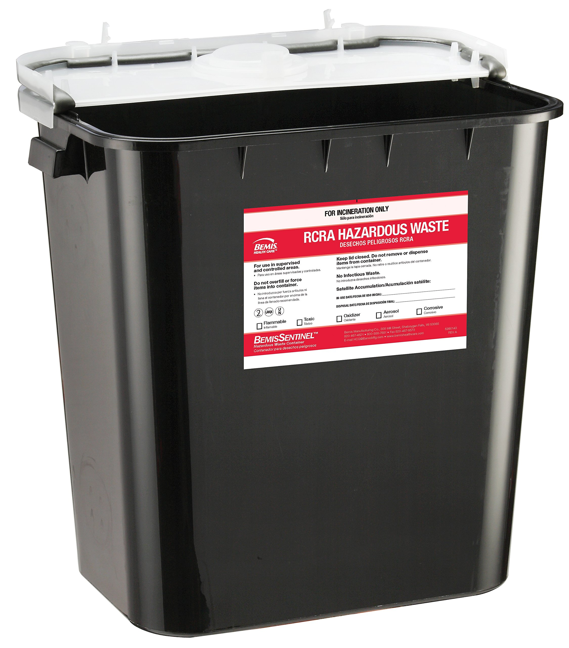 Bemis Healthcare 5008070-10 8 gal RCRA Hazardous Chemical Waste Container, Black (Pack of 10)