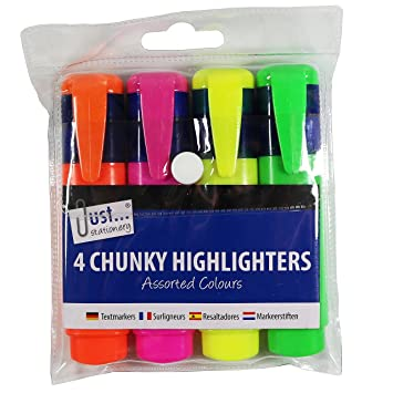 Chunky Neon Highlighter Marker Pens 4 Pack Office School Stationery