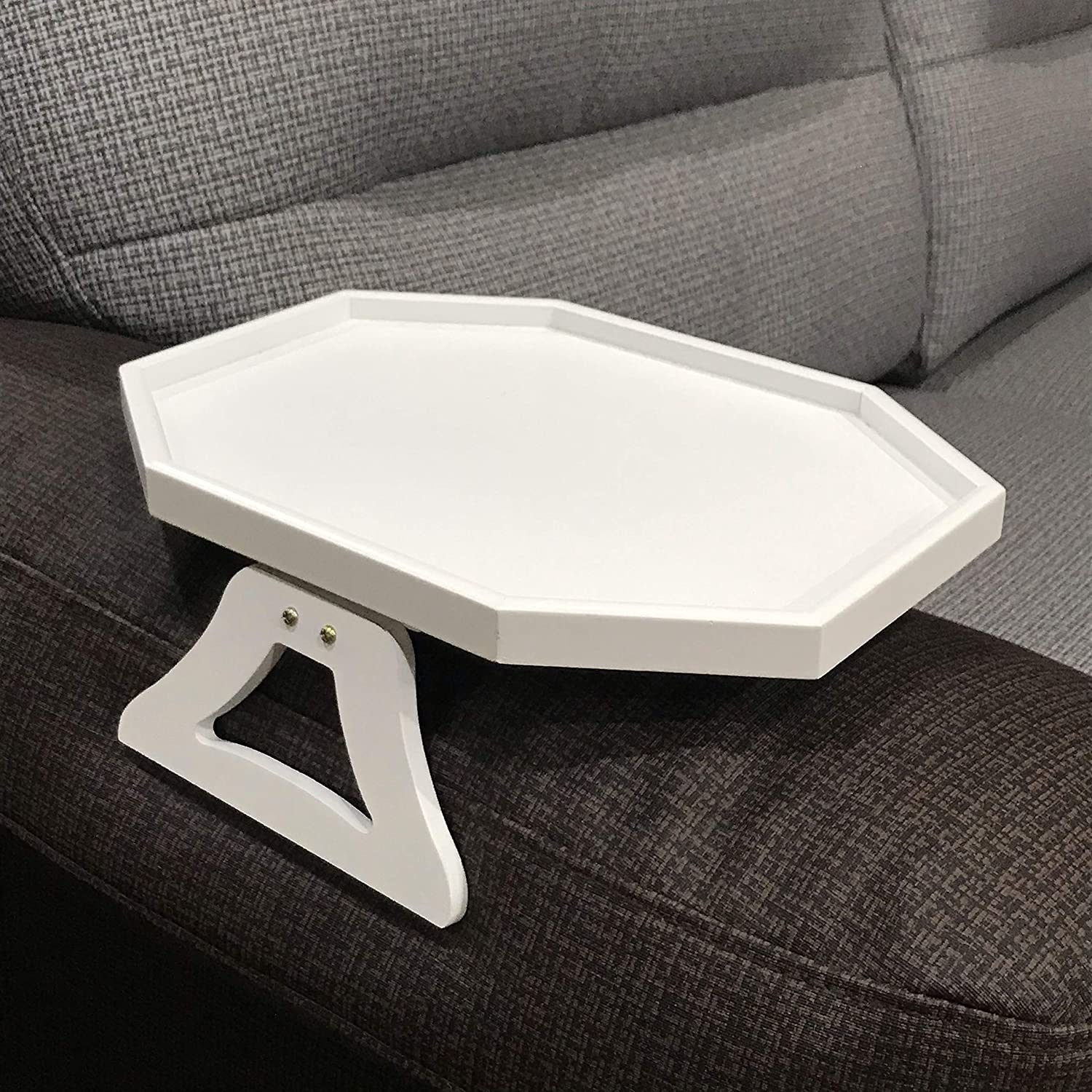 Wooden Sofa Armrest Clip-On Table, Recliner Armchair Organizer Tray (White)