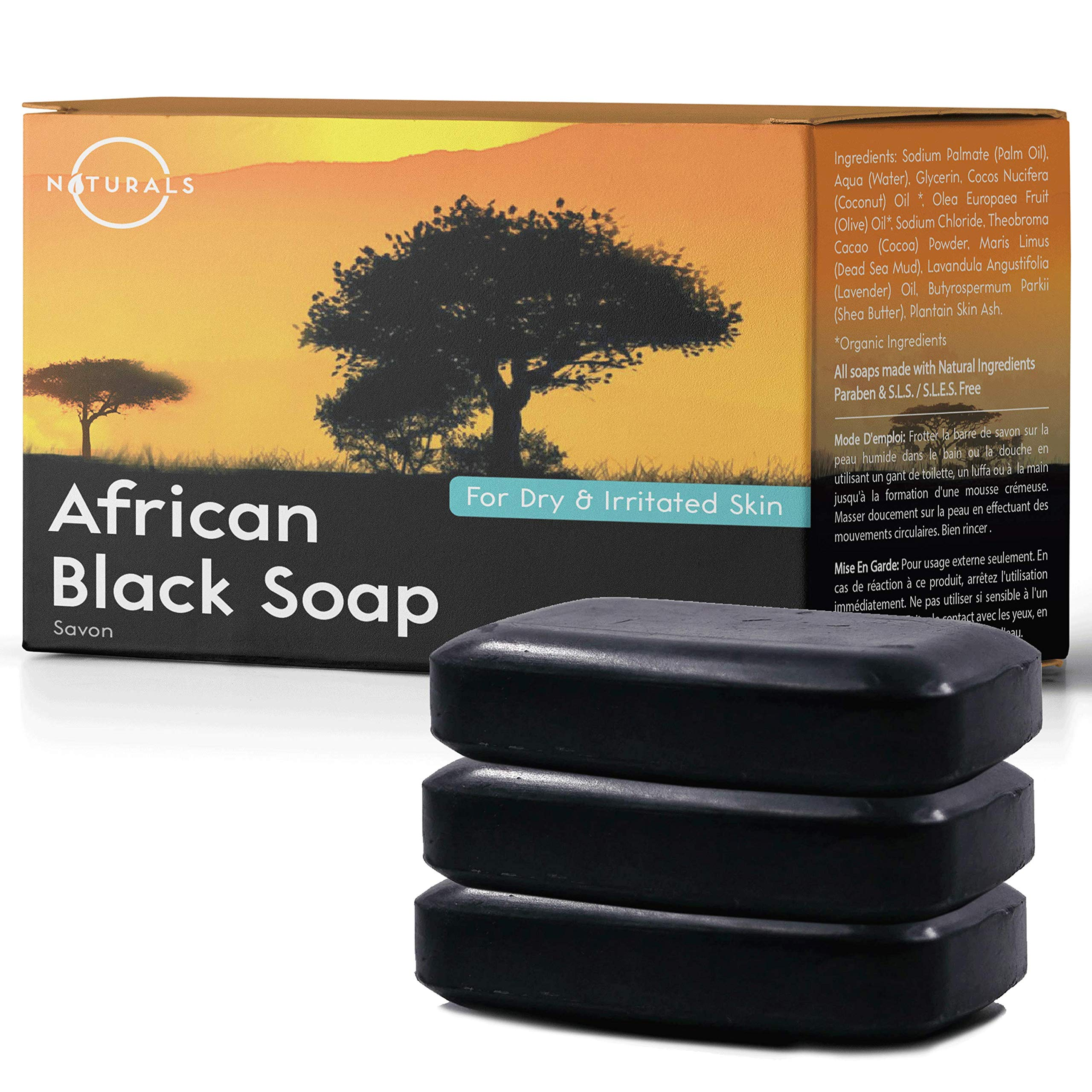 O Naturals African Black Soap Bar. Acne Treatment Natural Face & Body Wash for Clear Skin. Treats Oily Skin, Rashes, Eczema, Redness. Exfoliates Dead Skin. Shea Butter, Plantain, Vegan. 3-Piece 4Oz