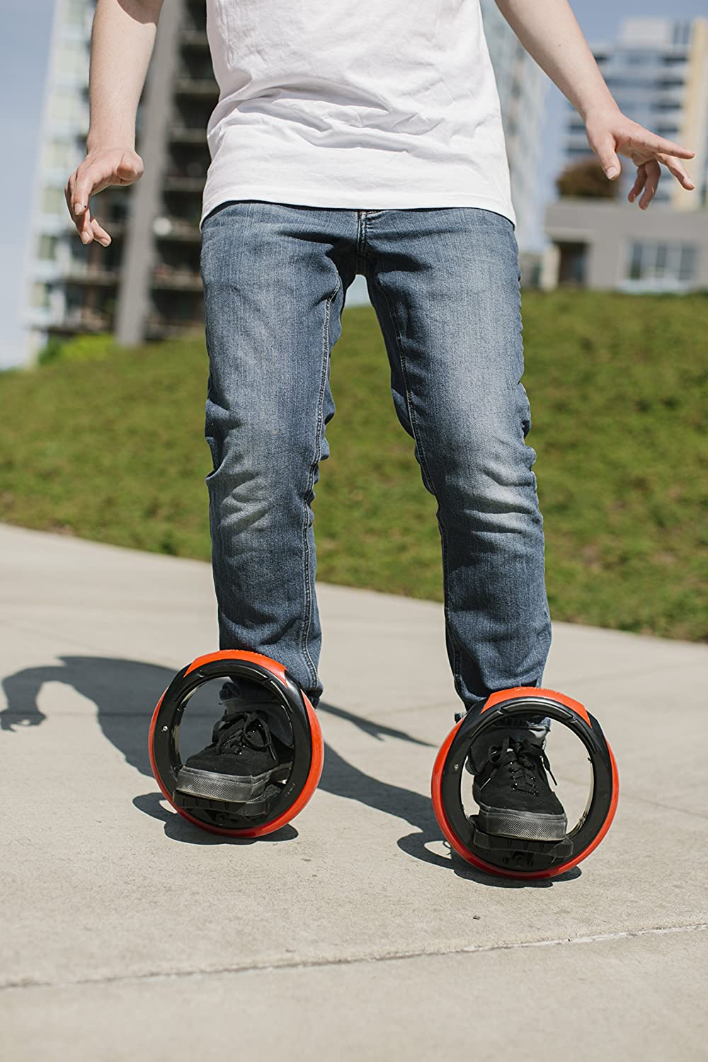 Transportation Has Never Been So Fun Portable and Convenient Wheeled Red /& Black Sport Skates Inventist Orbitwheel Boardless Skateboard Compact and Easy to Carry