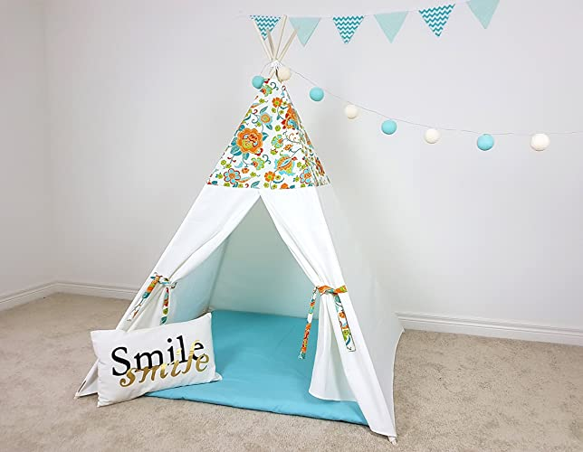 Amazon.com: Kids Teepee White Orange Green Blue Floral Pattern Tipi ...