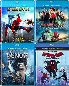 Far Spidey Home The Spider Movie Collection Into the Spider-Verse + Spider-Man Homecoming + Far From Home & Venom 4 Marvel Set