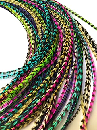 10 Pieces 548 PEACOCK GREEN THIN Long Grizzly Rooster Hair Extension Feathers Hair Feathers