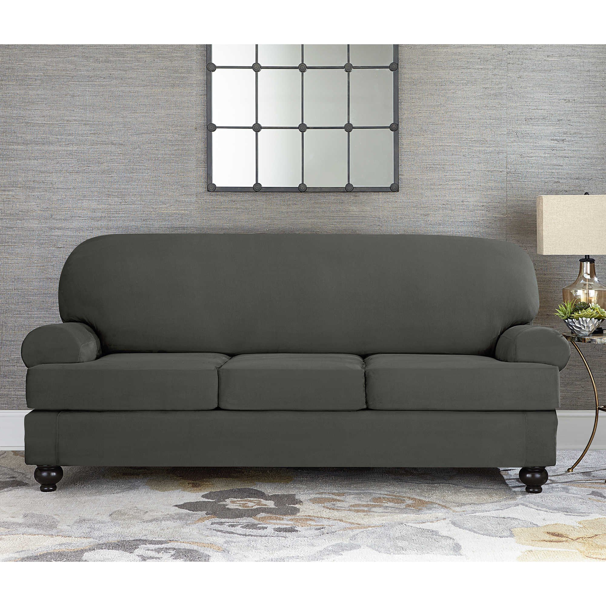 Sure Fit Designer Suede Convertible T-Cushion Sofa 3-Cushion Slipcover - Gray (SF44610)
