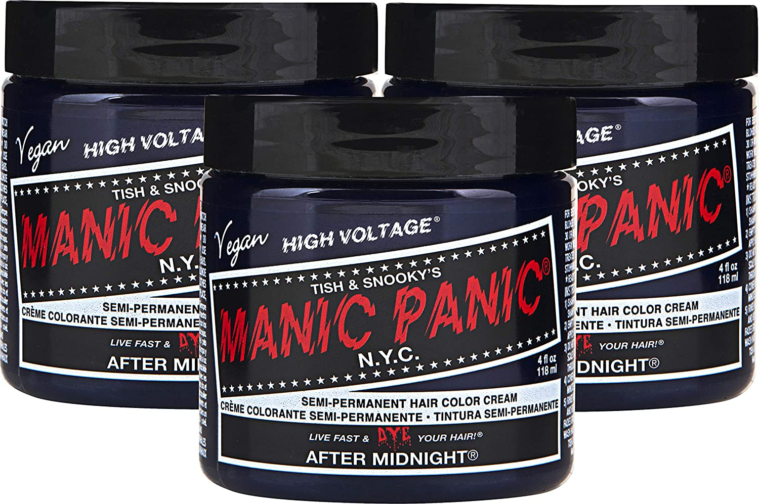 Manic Panic After Midnight Hair Dye – Classic High Voltage - (3PK) Semi-Permanent Hair Color - Vivid, Navy Blue - For Dark & Light Hair – Vegan, PPD & Ammonia Free - For Coloring Hair on Women & Men