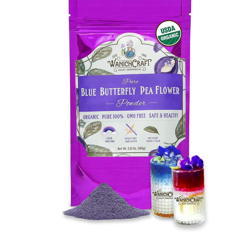 Butterfly Pea Flower Powder Blue Matcha Tea | 100% USDA Organic | CULINARY GRADE | GMO Free | Gluten Free | Vegan | No Artificial Dyes | Plant-Based Colors | 3.53 Oz. (100g Bags) – by WanichCraft