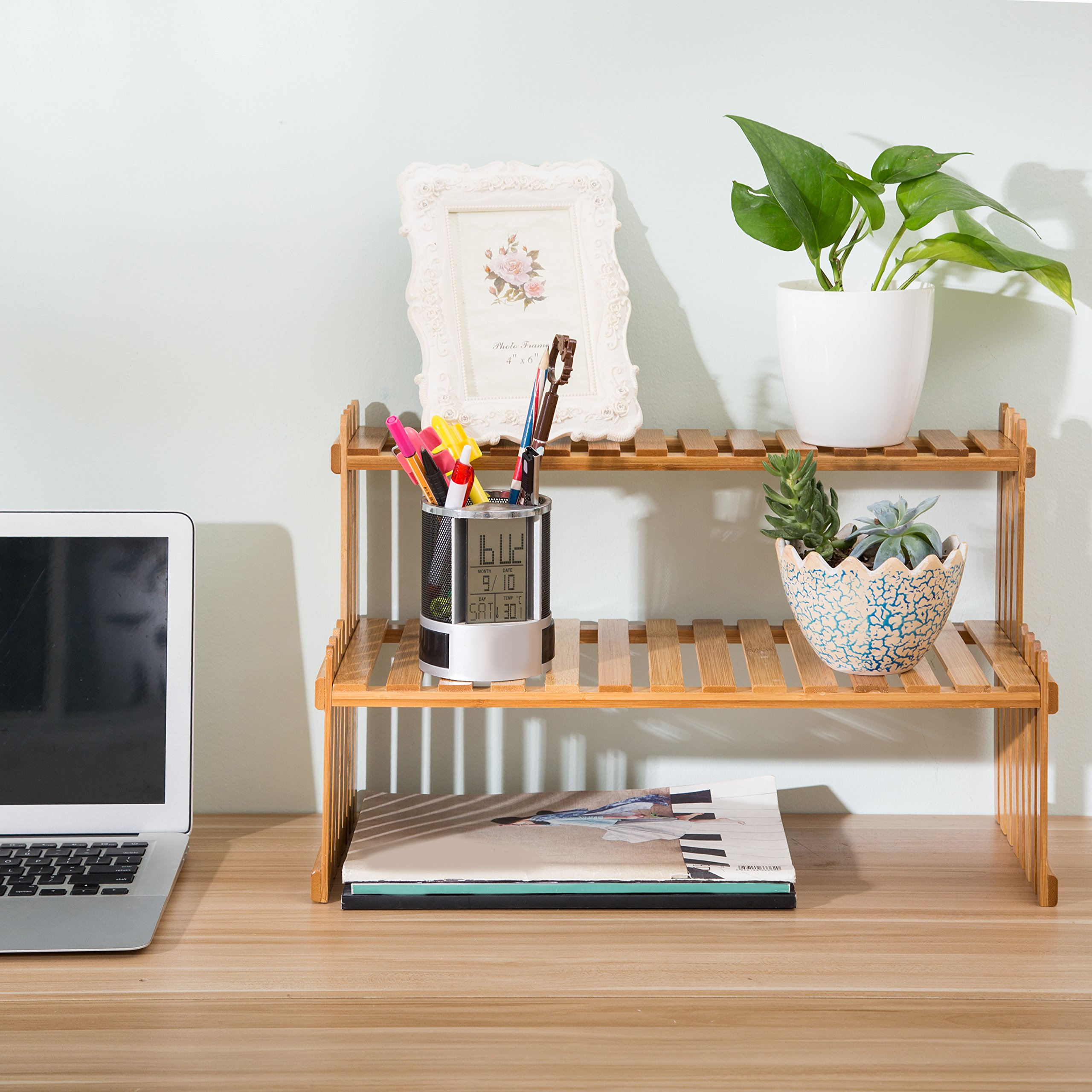 MyGift Tabletop Natural Bamboo Plant Stand, 2 Tier Desktop Shelf Rack, Brown by MyGift (Image #2)