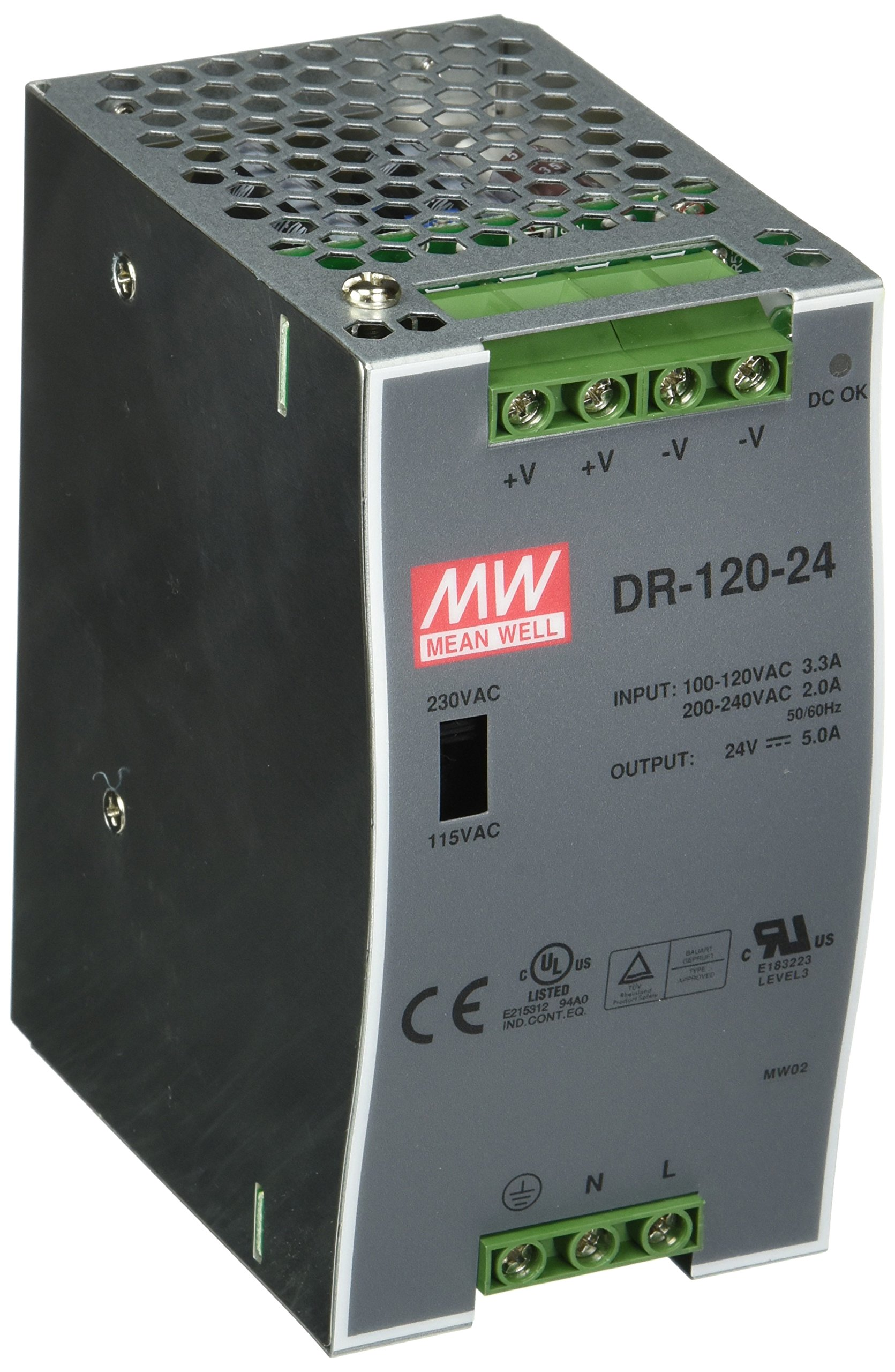 MEAN WELL DR-120-24 AC to DC DIN-Rail Power Supply, 24V, 5 Amp, 120W, 1.5''