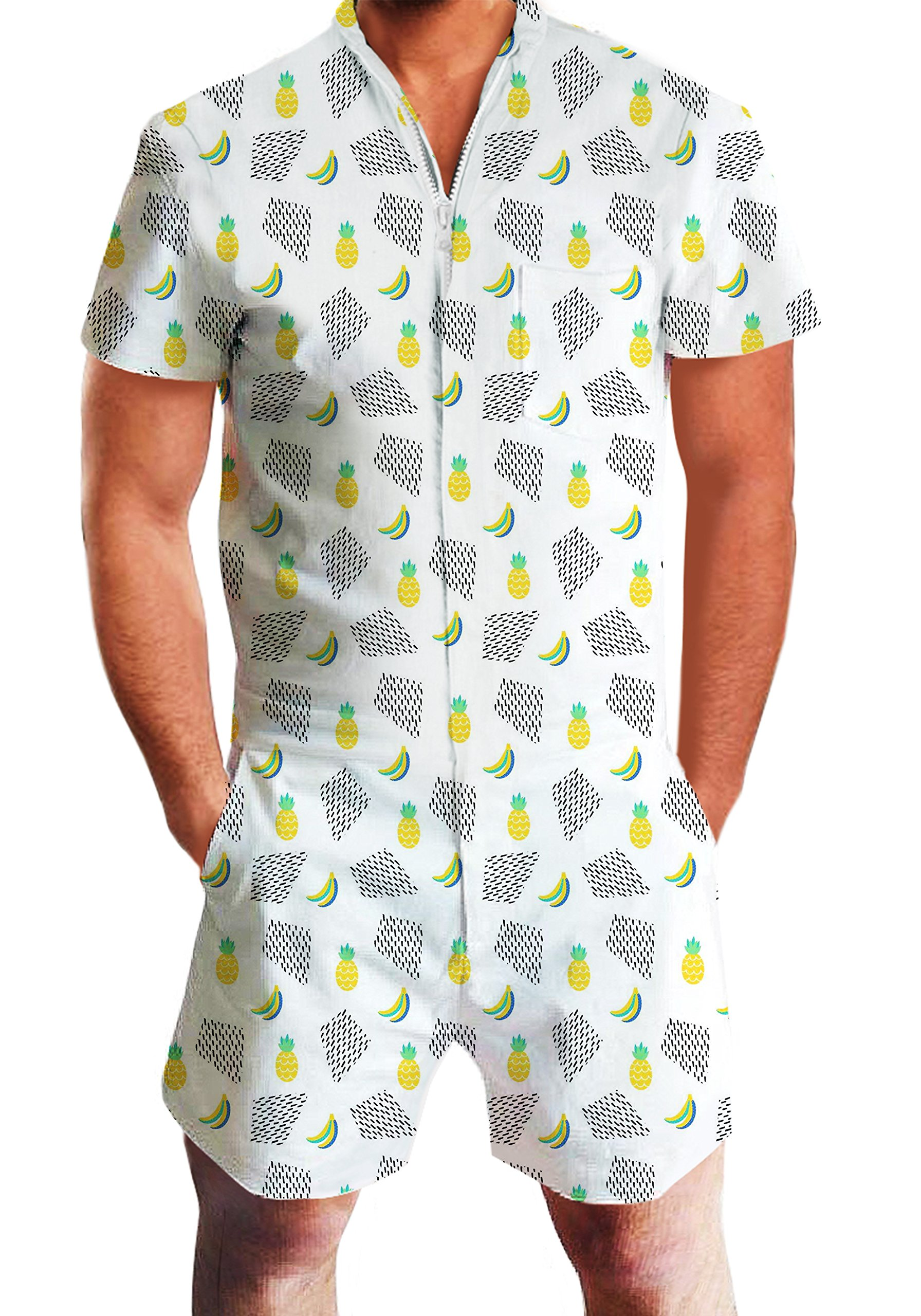 4f4d6805d3f0 Galleon - Leapparel Mens 3D Cool Bananas Pineapples Jumpsuit Rompers Romper  Zip Up One Piece Cargo Pants Overalls Coveralls Shorts XXL