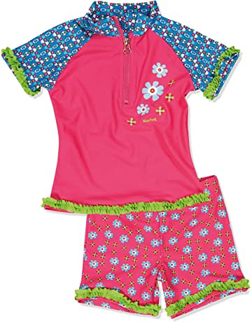 5a54183101 Playshoes Girl's UV Sun Protection 2 Piece Swim Set Flowers Swimsuit