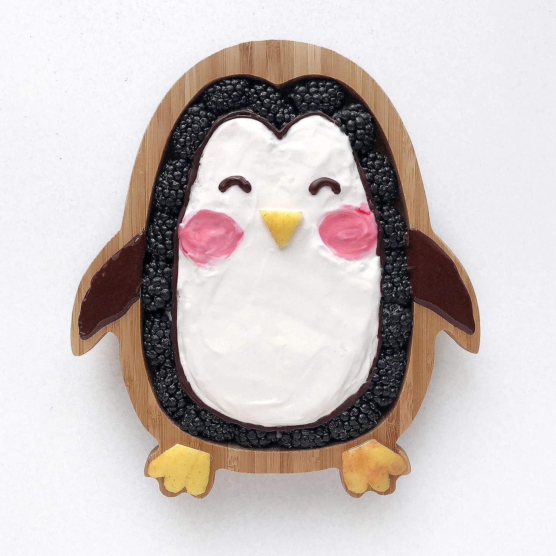 aus nat/ürlichem Bambus Baby Kleinkind Pinguin Saugnapfplatte mit Saugnapf