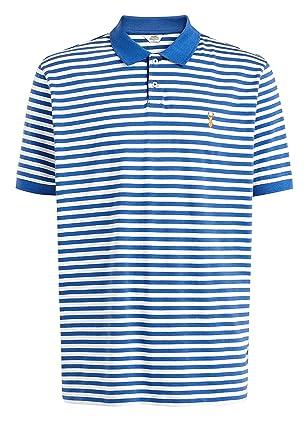 next Herren Gestreiftes Poloshirt Blau L