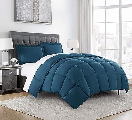 Amazon Com Chezmoi Collection 3 Piece Down Alternative Comforter Set Queen Teal Kitchen Dining