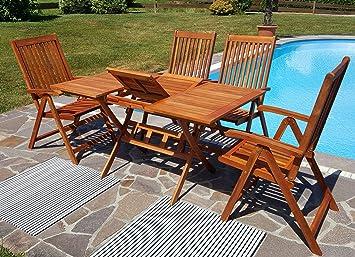 Edle Gartengarnitur Terassengarnitur Gartenset Gartenmöbel Holz Eukalyptus  Mit Ausziehtisch 100 140x90cm + 4 Hochlehner 7
