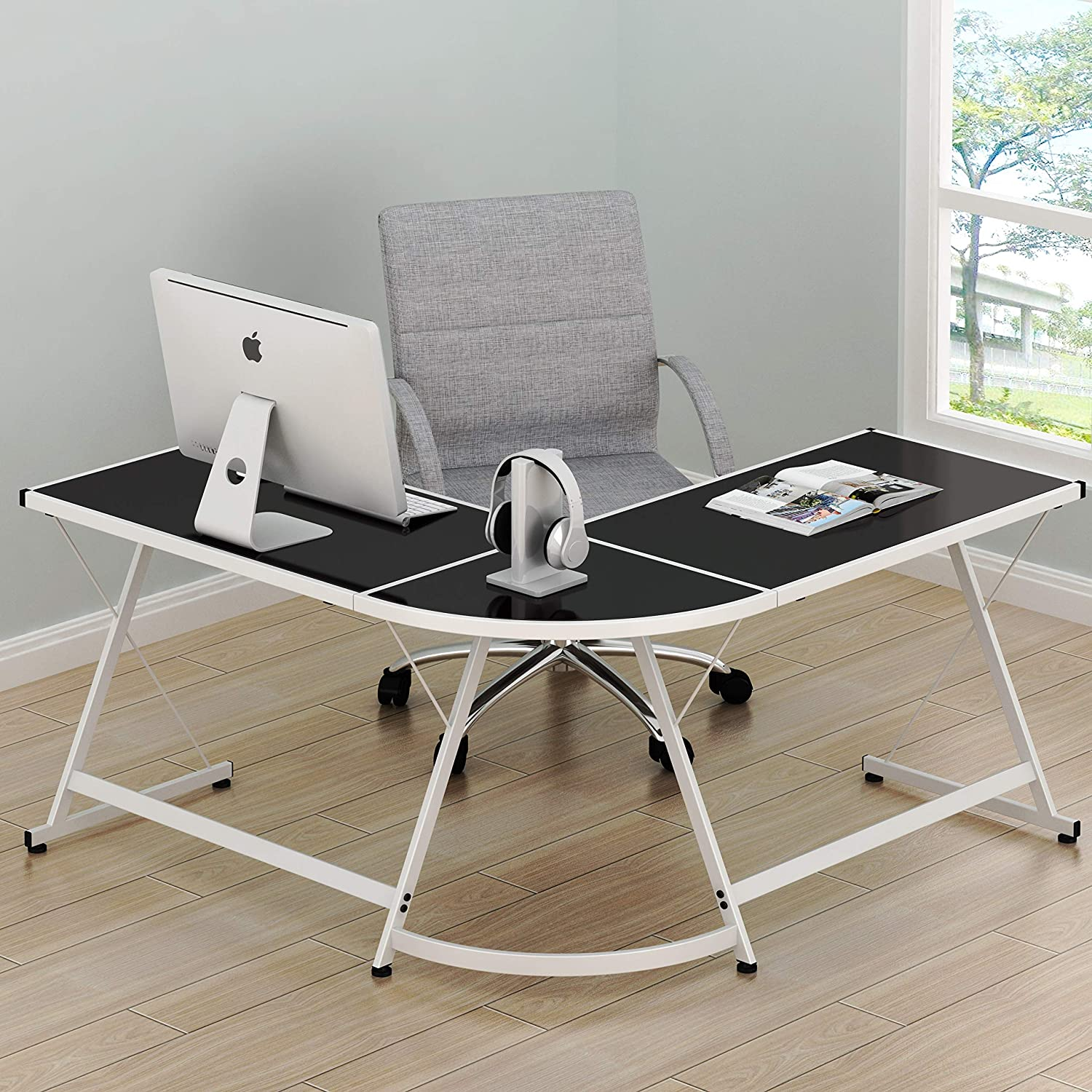SHW Vista Corner L Desk – White with Black Glass