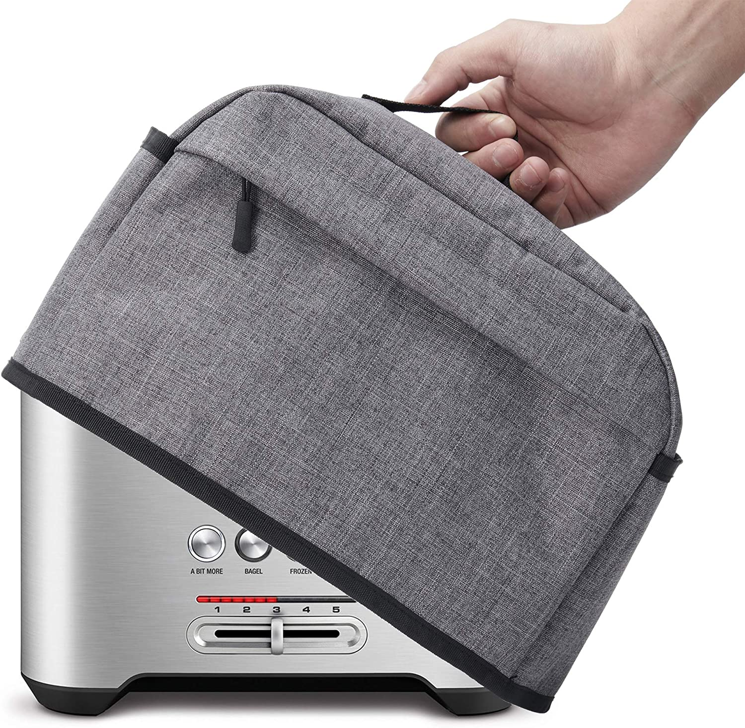 2 Slice Toaster Cover with Zipper & Open Pockets Kitchen Small Appliance Cover with Handle, Dust and Fingerprint Protection, Machine Washable, Grey