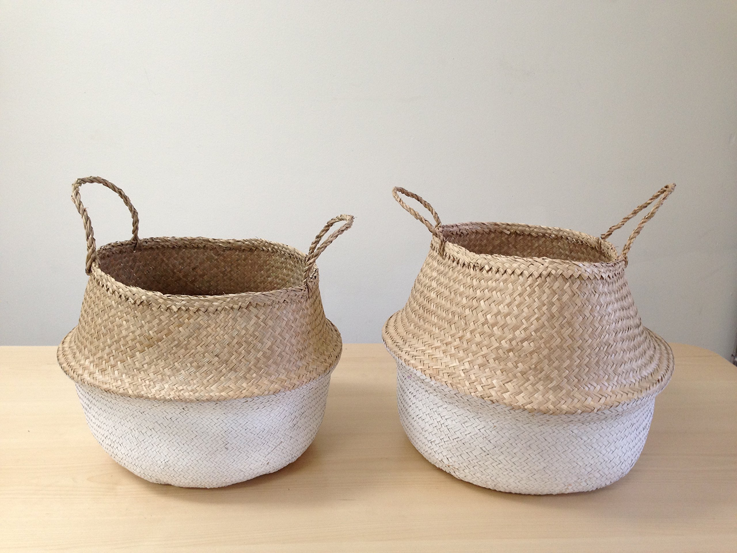Dipped White Sea Grass Belly Basket Panier Boule Storage Nursery Toy Laundry Easter (Small) - PRICE IS FOR ONE (1) PIECE, SIZE AS DESCRIBED. Handmade and Natural material may differ in textures, size and color. Beautiful and practical natural dip dyed white handwoven sea grass baskets, some remaining white paint flakes may still come off. - living-room-decor, living-room, baskets-storage - 91rAmb fsyL -