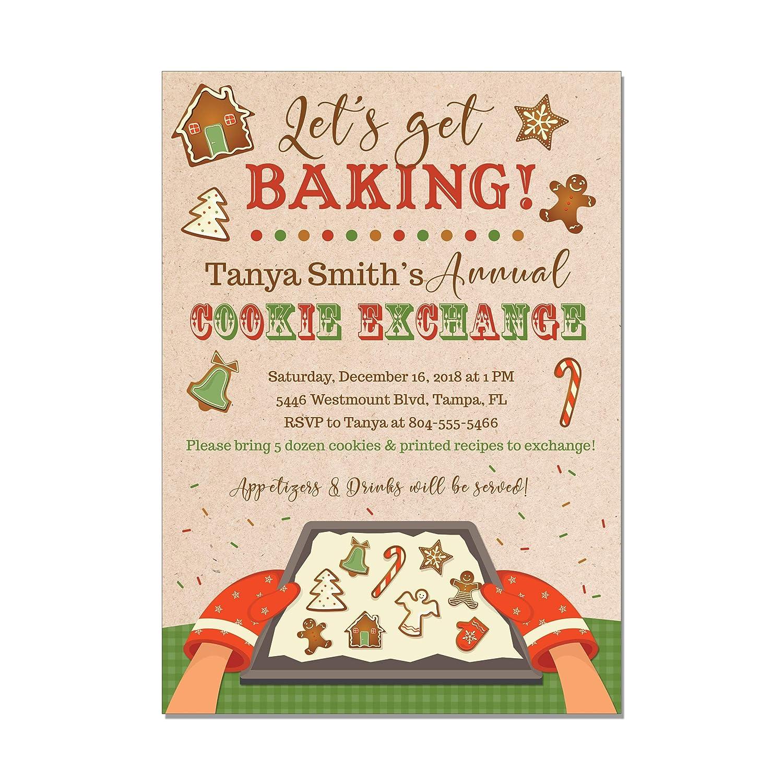 Christmas Cookie Party Invite.Amazon Com Christmas Cookie Exchange Party Invitations