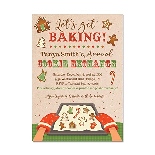 Amazon Com Christmas Cookie Exchange Party Invitations Holiday