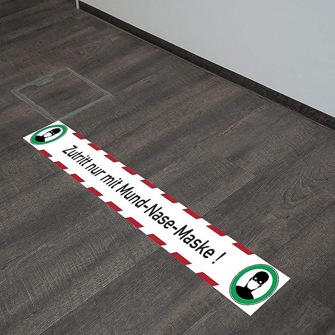 Fußbodenaufkleber Zutritt Nur Mit Mund Nase Maske 1000x100 Mm Baumarkt